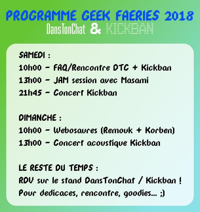 Programme DTC / Kickban / Webosaures / Remouk aux Geek Faëries 2018